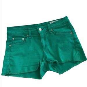 Rag & Bone Green Denim Jean Cut Off Shorts Lucky